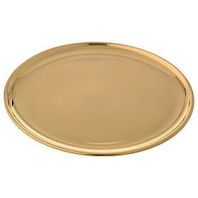 Plato para vela latón dorado lúcido diámetro 17 cm s2