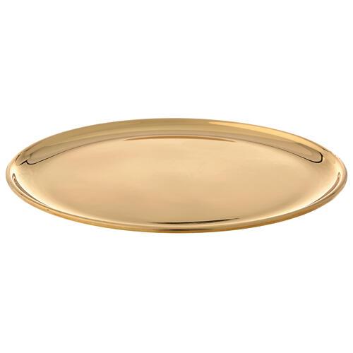 Plato para vela latón dorado lúcido diámetro 17 cm 1