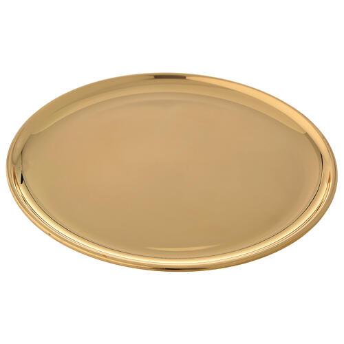 Plato para vela latón dorado lúcido diámetro 17 cm 2