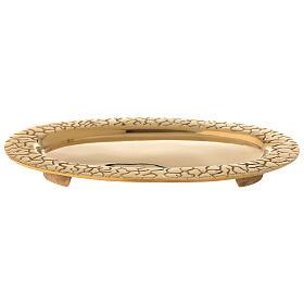 Piatto portacandela ottone dorato ovale bordo inciso s1