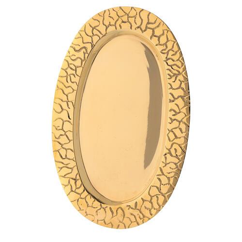 Piatto portacandela ottone dorato ovale bordo inciso 3