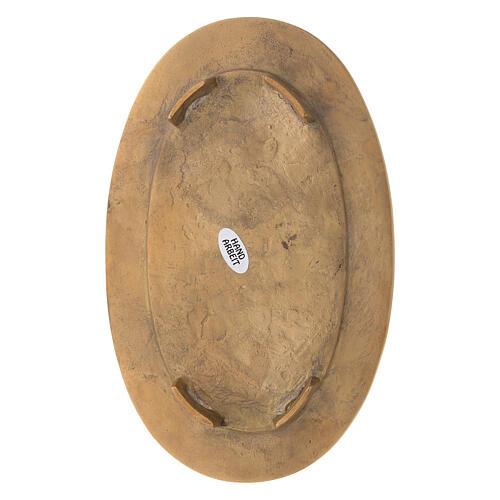 Piatto portacandela ottone dorato ovale bordo inciso 4