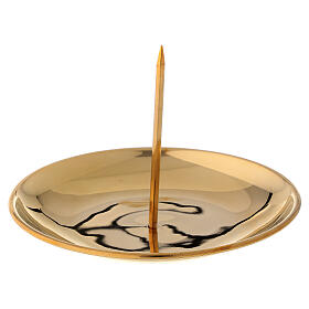 Candle jag for advent crown polished golden brass diameter 12 cm s1