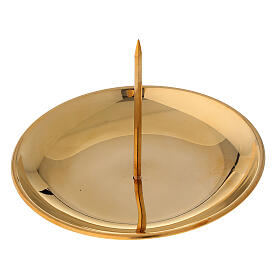 Candle jag for advent crown polished golden brass diameter 12 cm s2
