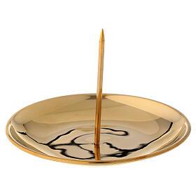 Punta vela para corona adviento latón dorado lúcido diám 12 cm s1