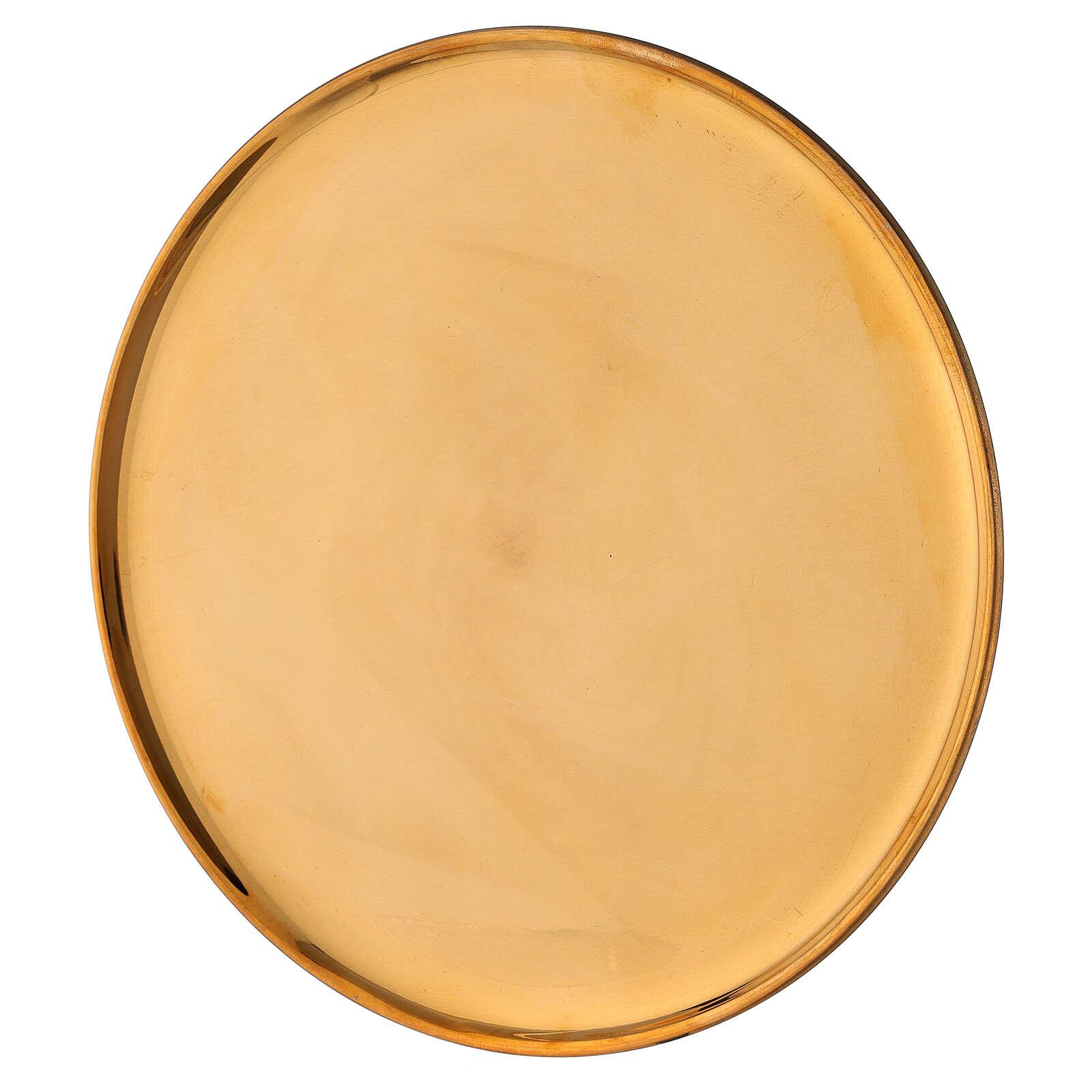 Plato portavela latón dorado lúcido redondo 21 cm 3