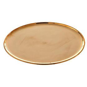 Plato portavela latón dorado lúcido redondo 21 cm s1