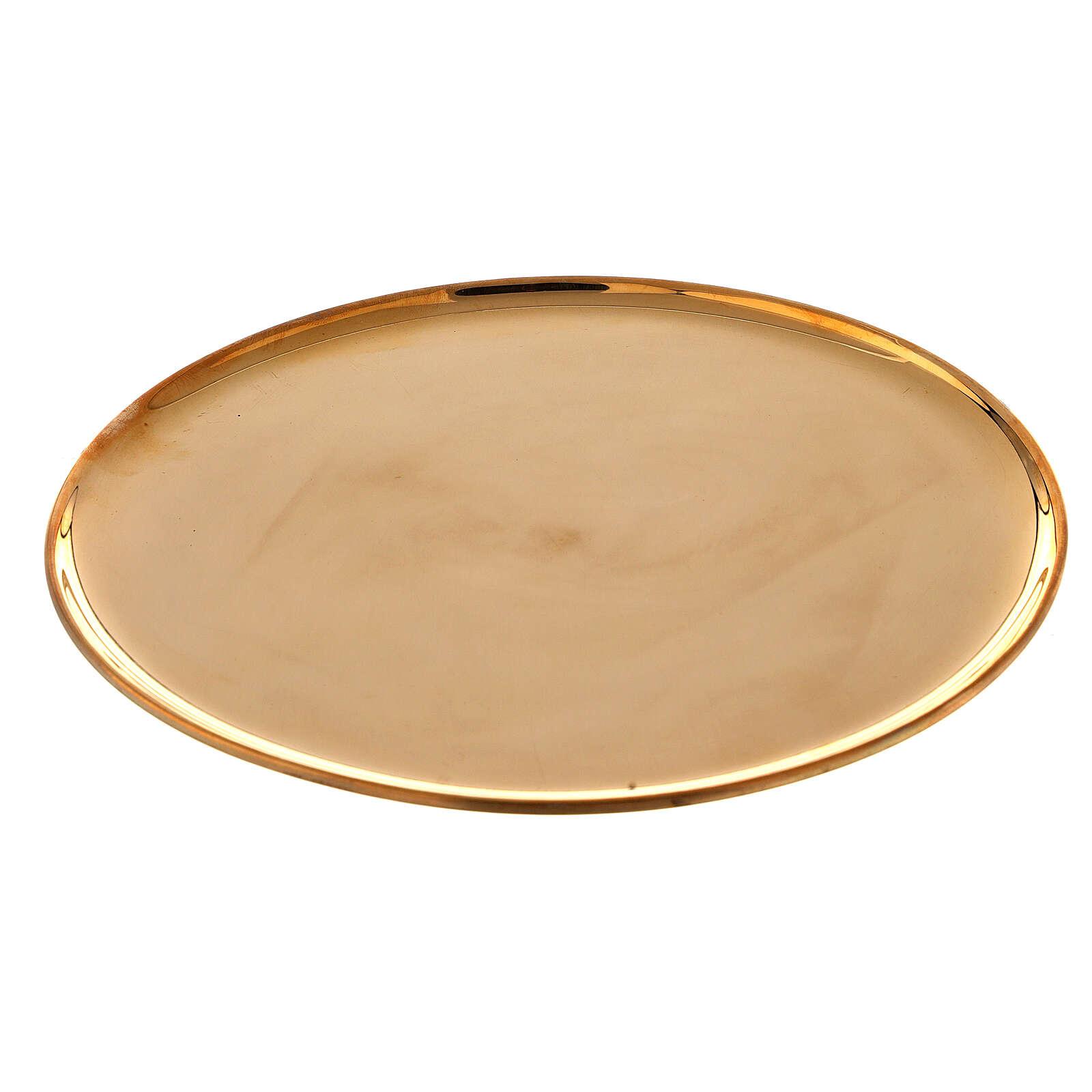 Piatto portacandela ottone dorato lucido tondo 21 cm 3
