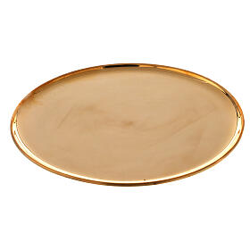Piatto portacandela ottone dorato lucido tondo 21 cm s1