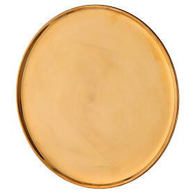 Piatto portacandela ottone dorato lucido tondo 21 cm s2