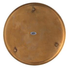 Piatto portacandela ottone dorato lucido tondo 21 cm s3