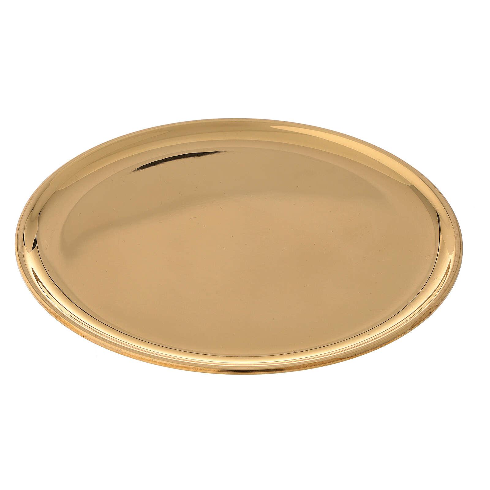 Plato velas diámetro 19 cm latón dorado lúcido 3