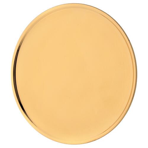 Plato velas diámetro 19 cm latón dorado lúcido 2
