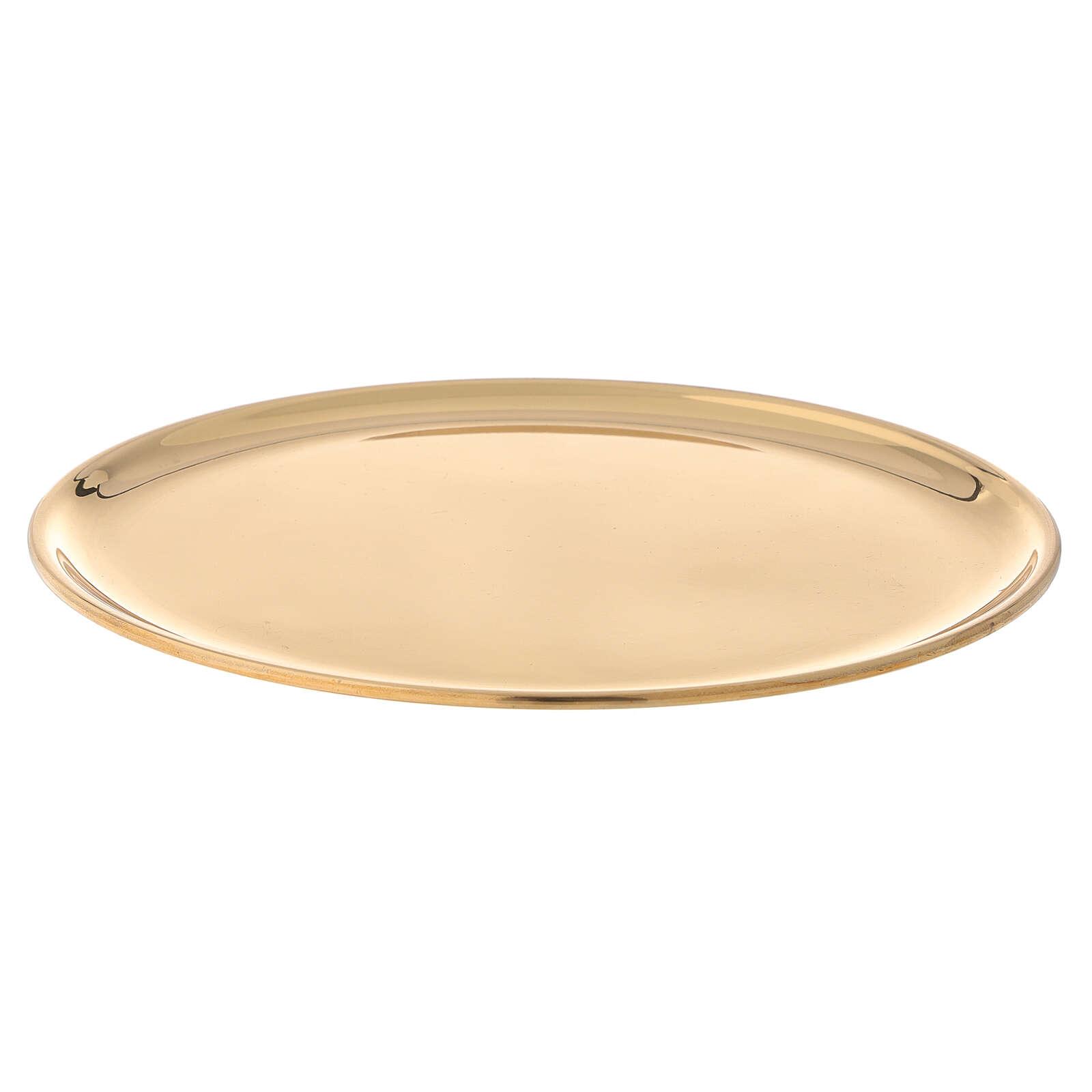 Piatto candele diametro 19 cm ottone dorato lucido 3