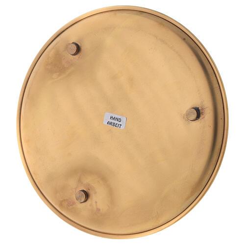 Piatto candele diametro 19 cm ottone dorato lucido 4