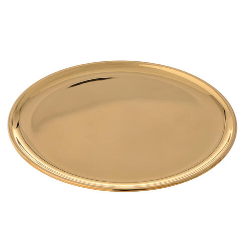 Candle holder plate d. 7 1/2 in polished gold plated brass 1