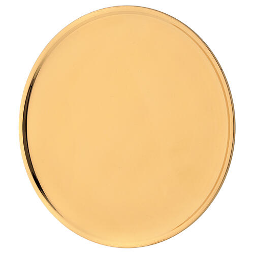 Candle holder plate d. 7 1/2 in polished gold plated brass 2