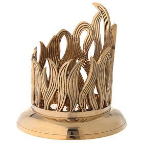 Golden brass candle holder engraved flames diameter 10 cm s3
