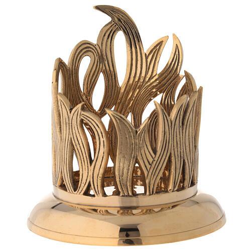 Golden brass candle holder engraved flames diameter 10 cm 1