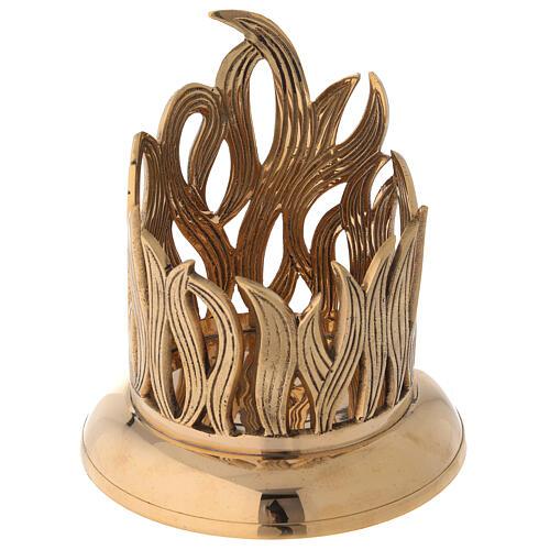 Golden brass candle holder engraved flames diameter 10 cm 2