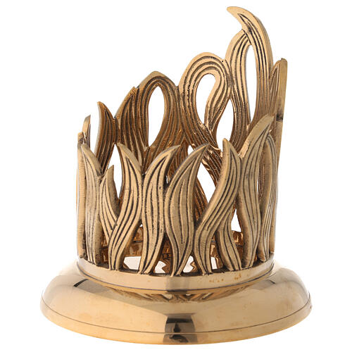 Golden brass candle holder engraved flames diameter 10 cm 3
