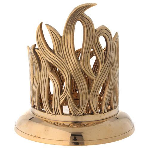 Golden brass candle holder engraved flames diameter 10 cm 4