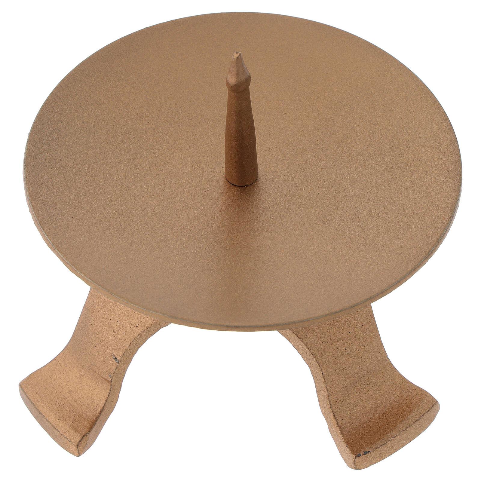 Portavela pies hierro color oro diámetro 9,5 cm 4
