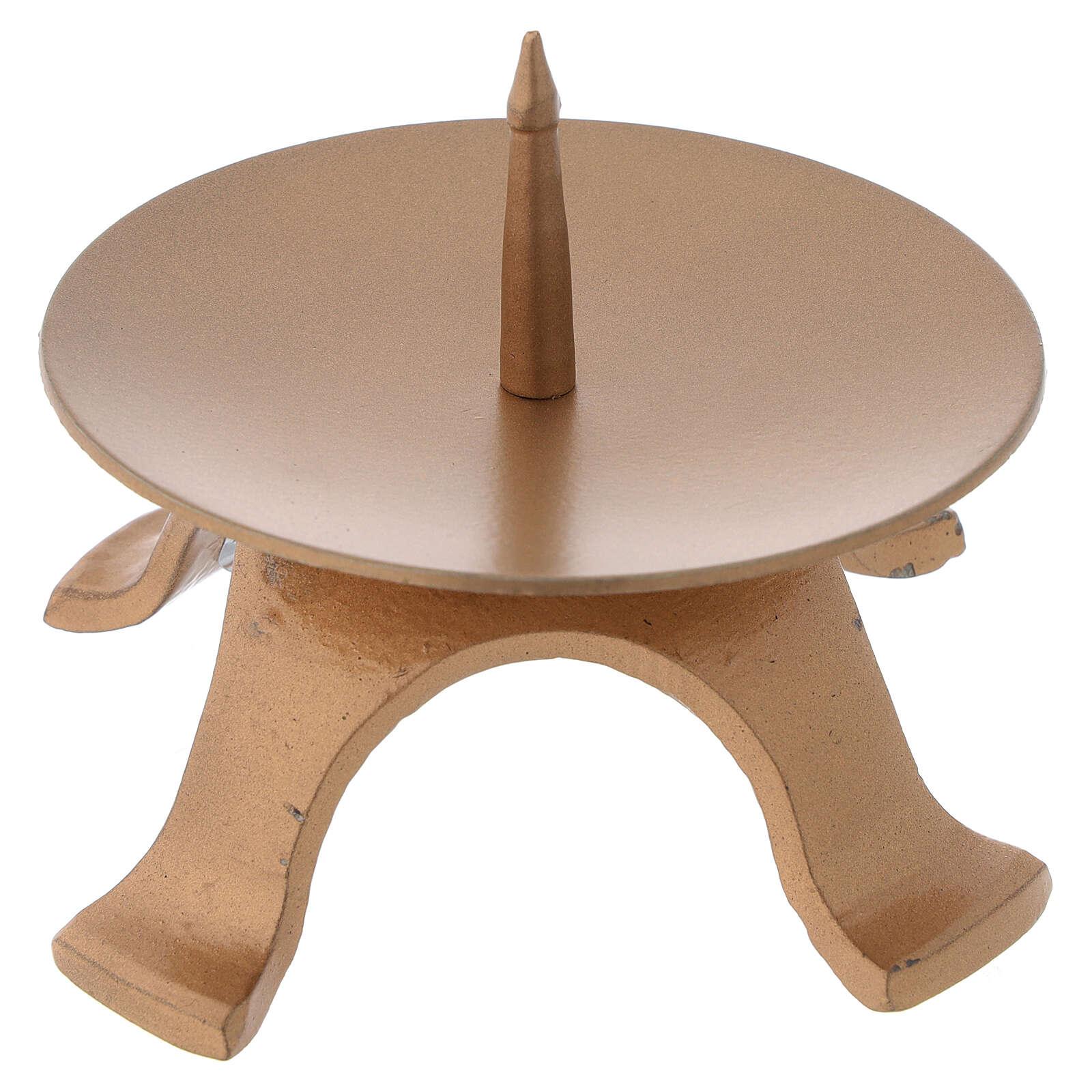 Portacandela piedini ferro color oro diametro 9,5 cm 4