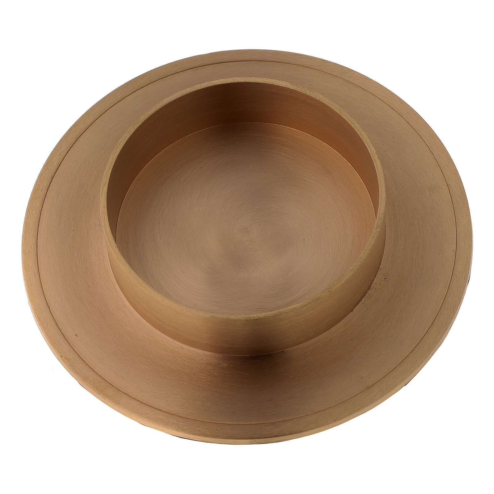 Brushed golden brass candle holder candle diameter 10 cm 4
