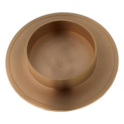 Brushed golden brass candle holder candle diameter 10 cm 2