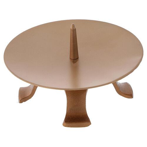 Portavela pies hierro dorado punta diámetro 13 cm 3