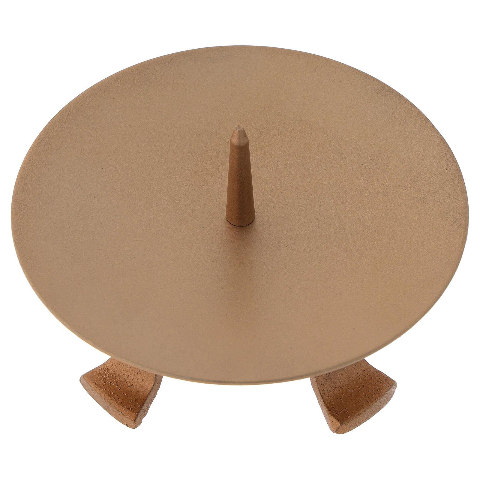 Portacandela piedini ferro dorato punzone diametro 13 cm 4