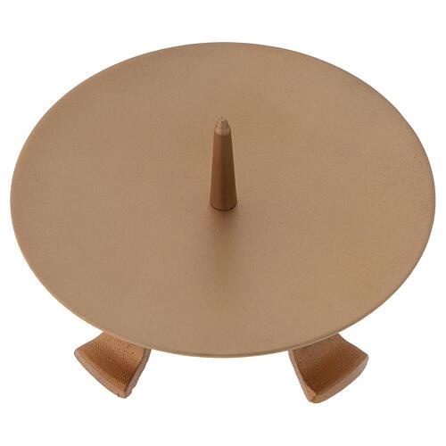 Portacandela piedini ferro dorato punzone diametro 13 cm 2