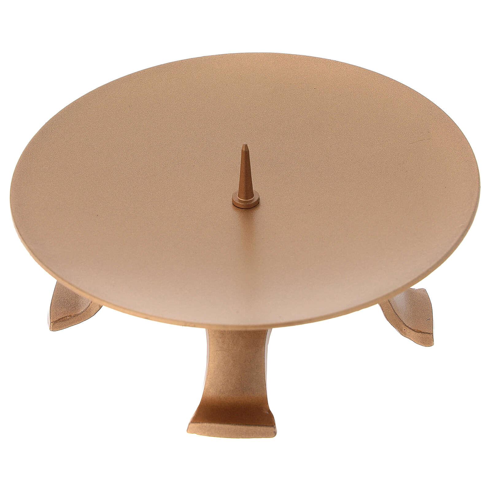 Portacandela diametro 13 cm ferro color oro piedini 4