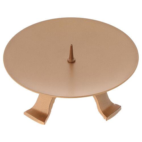 Portacandela diametro 13 cm ferro color oro piedini 1