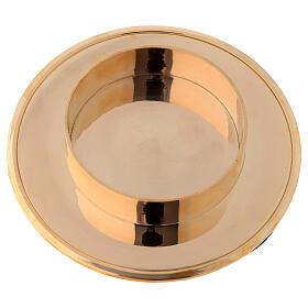 Shiny golden brass candle base diameter 10 cm s2