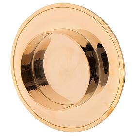 Shiny golden brass candle base diameter 10 cm s3