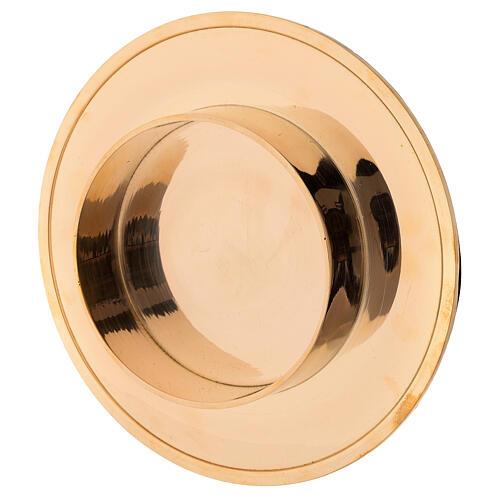 Shiny golden brass candle base diameter 10 cm 3