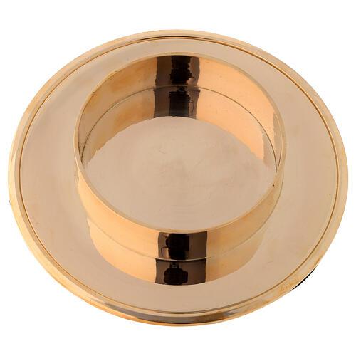 Base bougie laiton doré brillant diamètre 10 cm 2