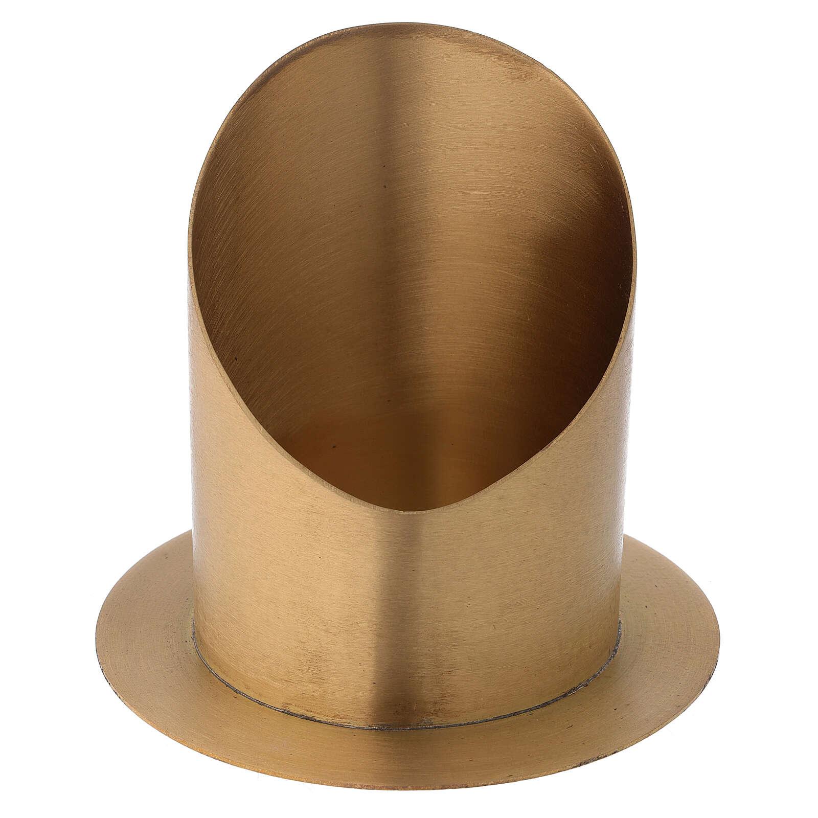Candleholder oblique cut satin golden brass diameter 10 cm 4