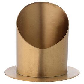 Candleholder oblique cut satin golden brass diameter 10 cm s1