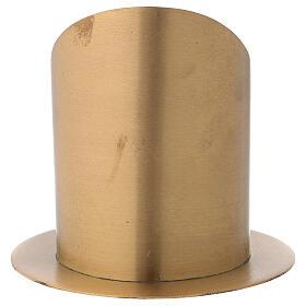 Candleholder oblique cut satin golden brass diameter 10 cm s5