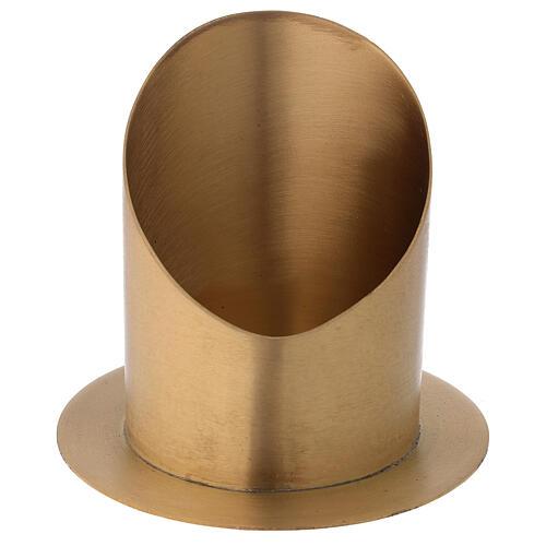 Candleholder oblique cut satin golden brass diameter 10 cm 2
