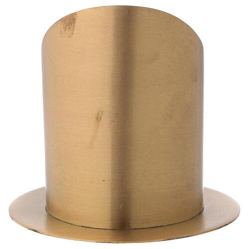 Candleholder oblique cut satin golden brass diameter 10 cm 5