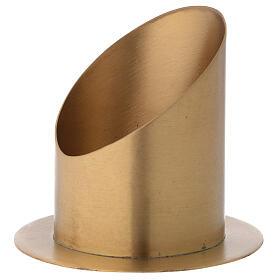 Portacandela taglio obliquo ottone dorato satinato diametro 10 cm s4