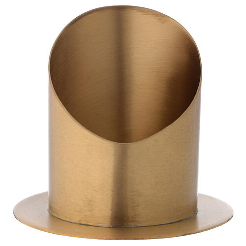 Portacandela taglio obliquo ottone dorato satinato diametro 10 cm 1