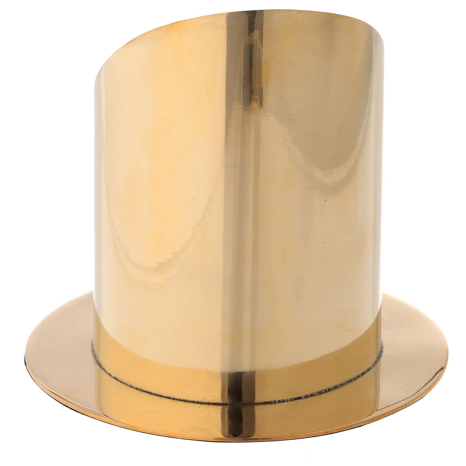 Base para vela 10 cm latón dorado lúcido corte oblicuo 4