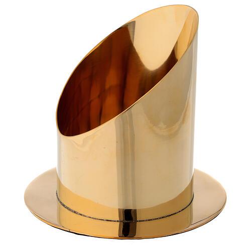 Base para vela 10 cm latón dorado lúcido corte oblicuo 3