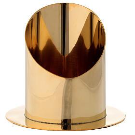 Base per candela 10 cm ottone dorato lucido taglio obliquo s1