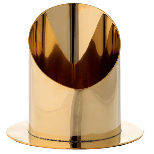 Base per candela 10 cm ottone dorato lucido taglio obliquo 1